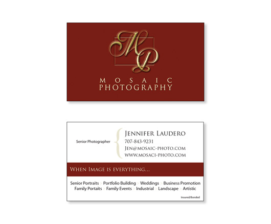 Mosaic photography business cards graphic design previousnext the business cards for mosaic photography reheart Image collections