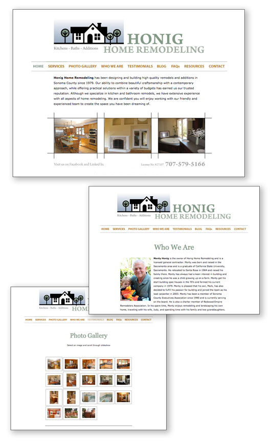 honig home remodeling website design